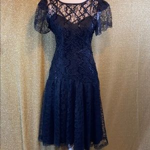 80s vintage black lace dress